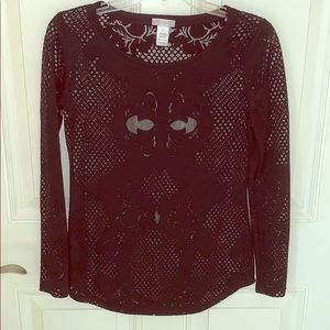 BLACK LONG SLEEVE SHEER TOP FROM CACHE SIZE XS